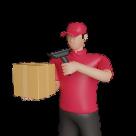 Delivery man scanning package 3D Illustration