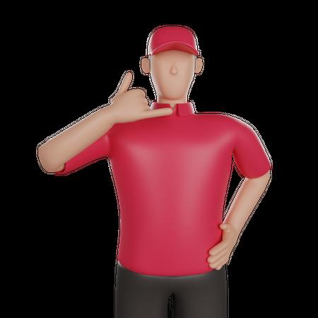 Delivery man showing calling gesture 3D Illustration