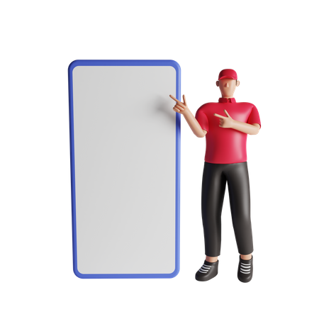 Delivery man showing mobile screen 3D Illustration