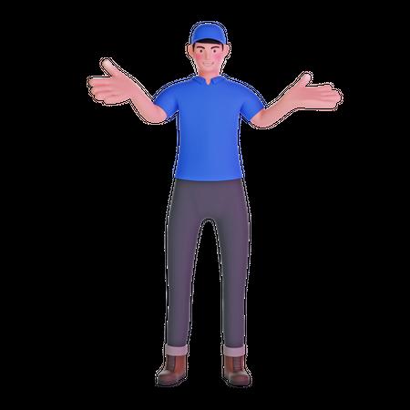 Delivery man standing 3D Illustration