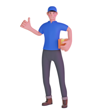Delivery man thumbs up 3D Illustration