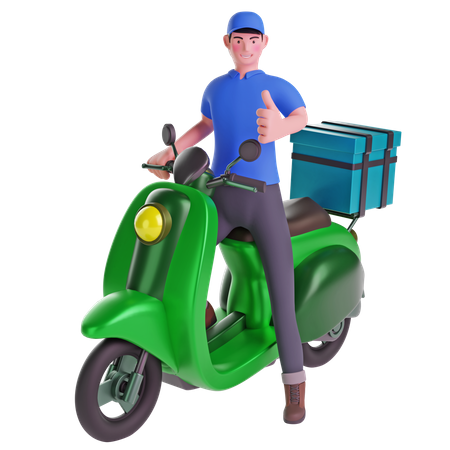 Delivery man Thumbs up while riding motorcycle with delivery box 3D Illustration
