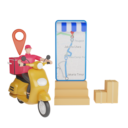 Delivery man tracking delivery location 3D Illustration