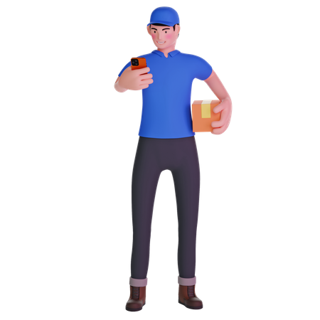 Delivery man Using Phone with Box in Hands 3D Illustration