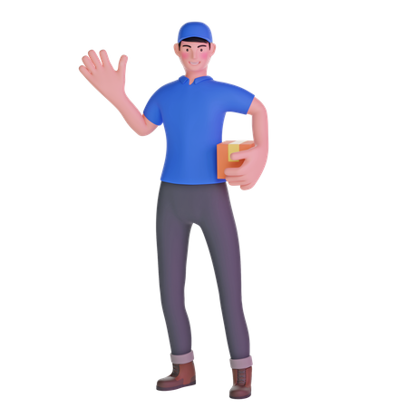 Delivery man waving while carrying package 3D Illustration