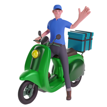 Delivery man waving while riding motorcycle with delivery box 3D Illustration