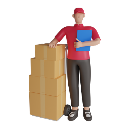 Delivery man with warehouse package list 3D Illustration