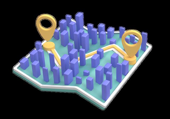 Delivery Map 3D Illustration