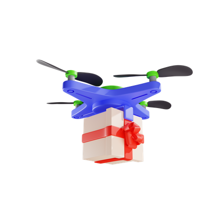 Delivery Of Gift By Drone 3D Illustration