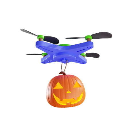 Delivery Of Jacks Pumpkin Lantern By Drone 3D Illustration