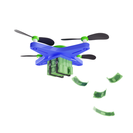Delivery Of Wads Of Money By Drone 3D Illustration