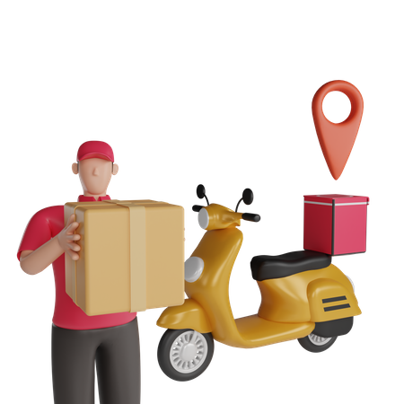 Delivery on scooter 3D Illustration