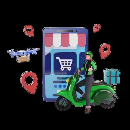 Delivery online shop 3D Illustration