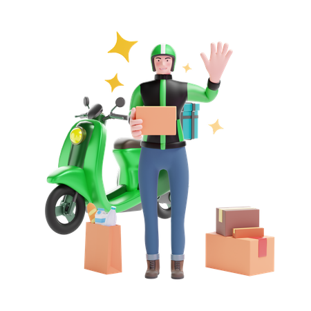 Delivery service man with package boxes and scooter 3D Illustration