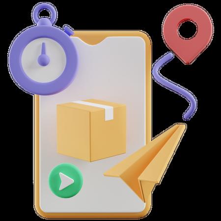 Delivery Tracking 3D Illustration