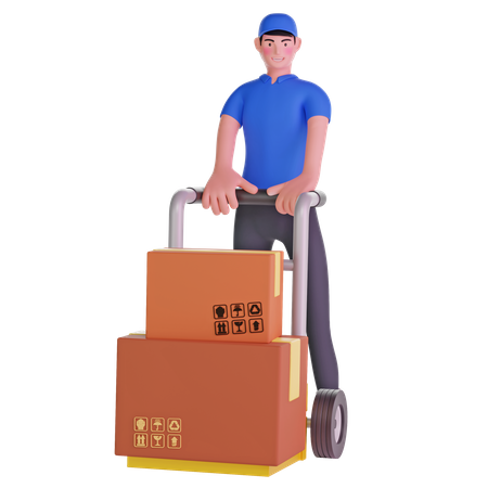 Deliveryman Holding Trolley Loaded With Cardboard Boxes 3D Illustration