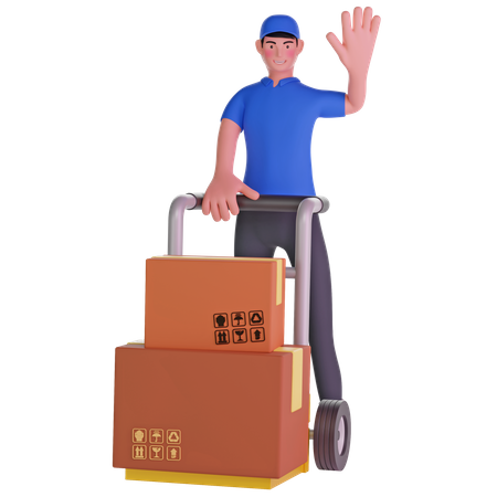 Deliveryman waving and Holding Trolley Loaded With Cardboard Boxes 3D Illustration