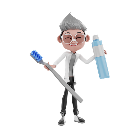 Desist doctor holding toothbrush and toothpaste 3D Illustration