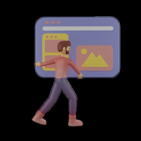 Developer working on new website 3D Illustration