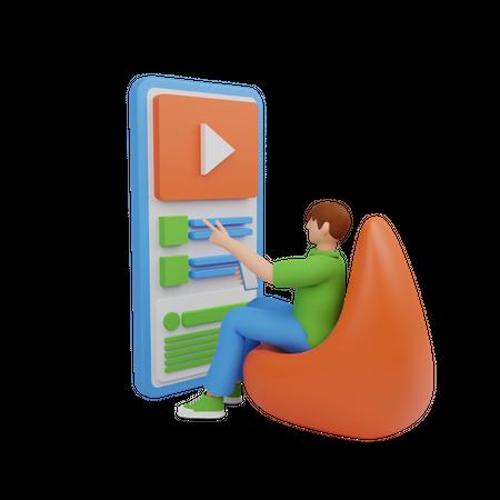 Digital marketer doing work from home 3D Illustration
