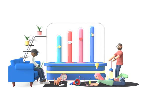 Digital Marketing 3D Illustration
