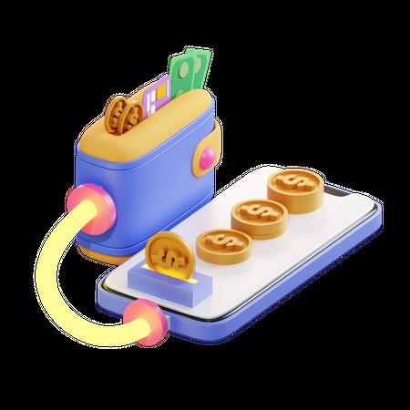 Digital Wallet 3D Illustration
