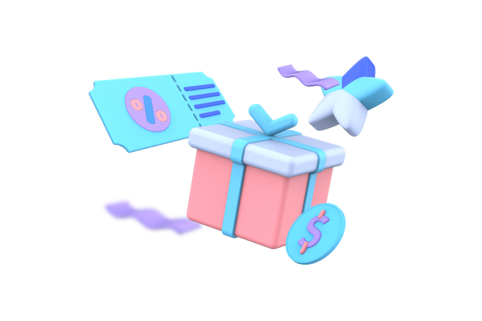 Discount card and gift box 3D Illustration