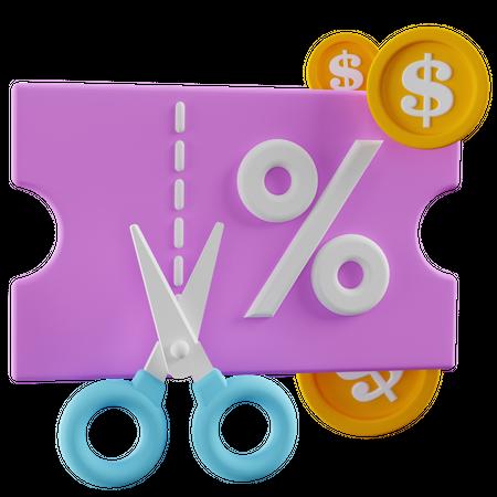 Discount Coupon 3D Illustration