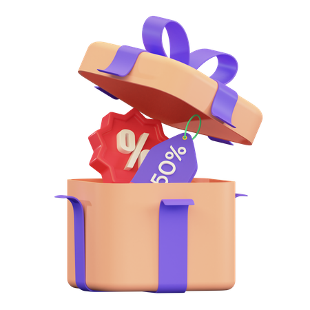 Discount Gift 3D Illustration