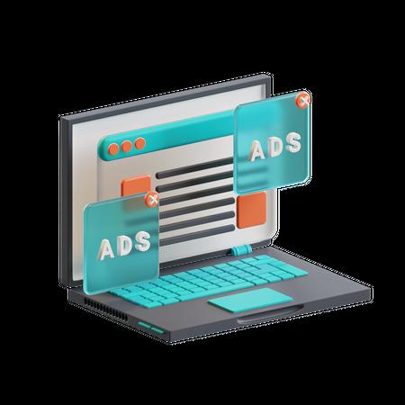 Display ads 3D Illustration