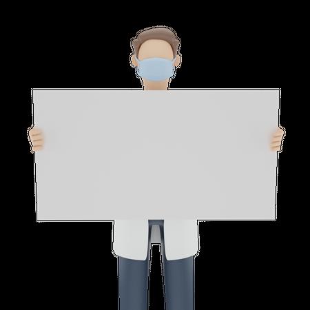 Doctor holding blank board 3D Illustration