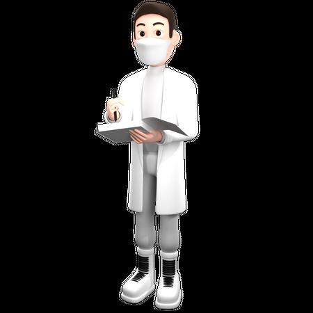 Doctor Write Medical Prescription 3D Illustration