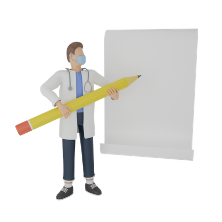 Doctor writing on a blank paper 3D Illustration