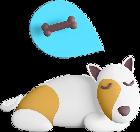 Dog dreaming about bone 3D Illustration