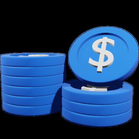 Dollar Coin Stack 3D Illustration