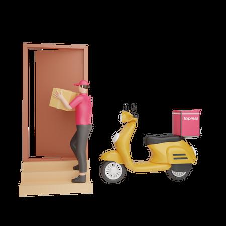 Door to door courier service 3D Illustration