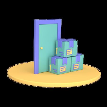 Door To Door Delivery 3D Illustration