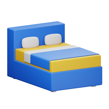 Double Bed 3D Illustration