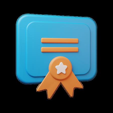 Educational Certificate 3D Illustration