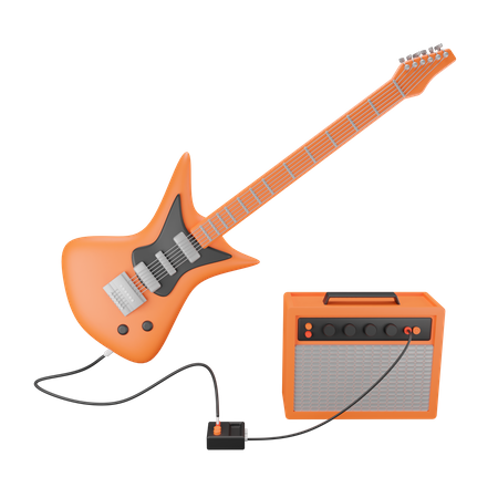 Electric Guitar And Amplifier 3D Illustration