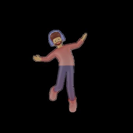 Employee listening music 3D Illustration