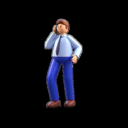 Employee talking on phone 3D Illustration
