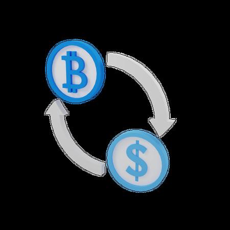 Exchange Cryptocurrency 3D Illustration