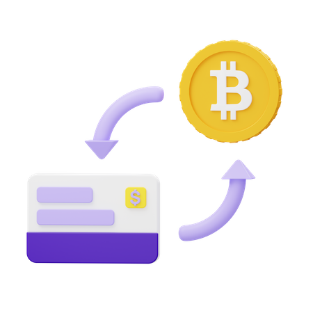 Exchange currency to cryptocurrency 3D Illustration