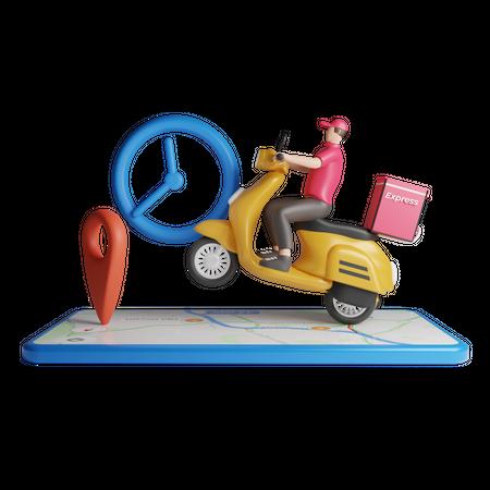 Express courier delivery on bike 3D Illustration