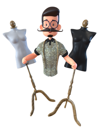 Fashion Designer With Mannequin 3D Illustration