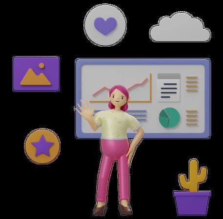 Female employee working on data 3D Illustration
