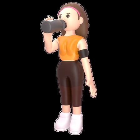 Female sportsperson drinking energy drink 3D Illustration