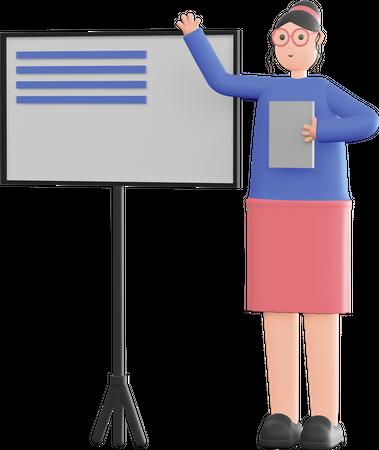 Female teacher taking lecture 3D Illustration