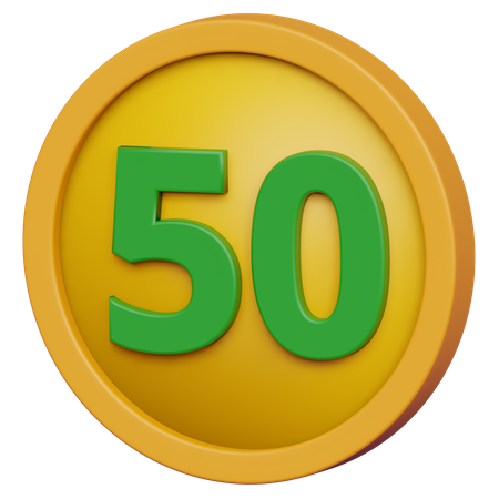 Fifty Coin 3D Illustration